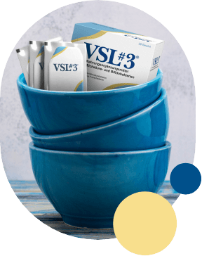 blaue Schüssel mit VSL#3 Packung