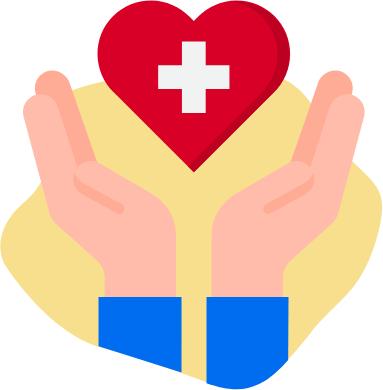 Hände unter einem roten Herz