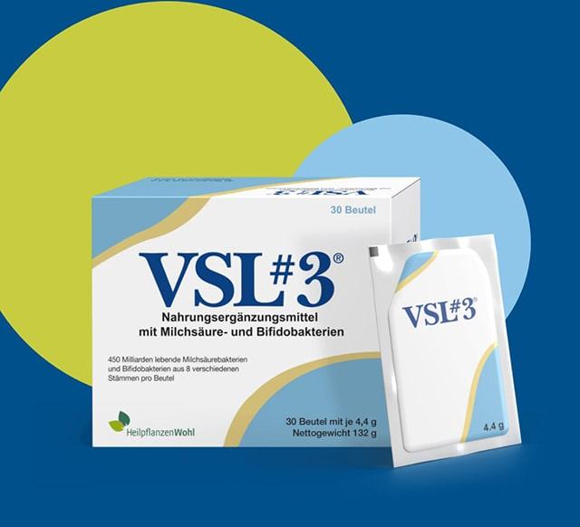 VSL#3 Packung auf blauem Hintergrund