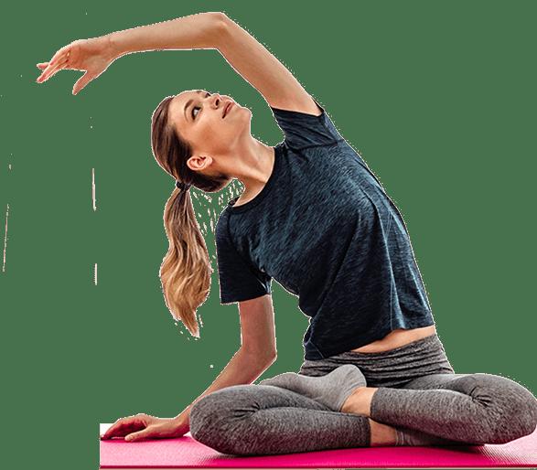 Frau betreibt Joga