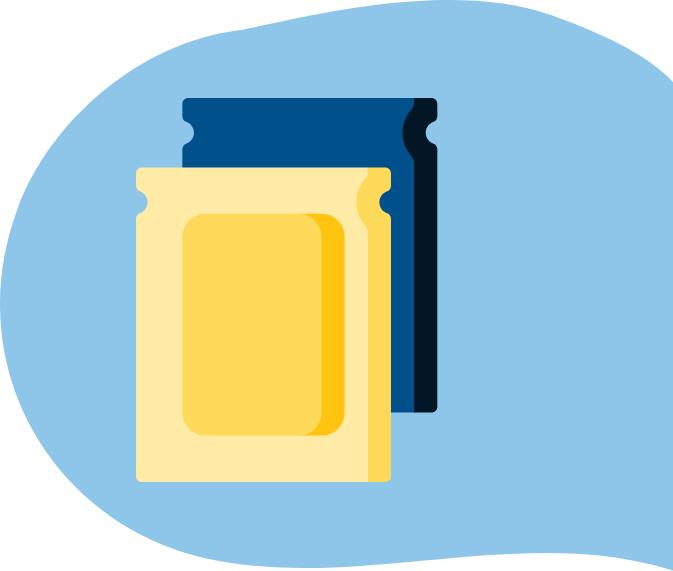 Gelb-blaue Verpackung Sachets